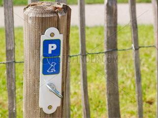 Hunde muessen draussen auf dem Parklatz fuer Hunde parken