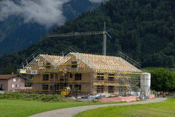 Hausbaustelle in der Schweiz.