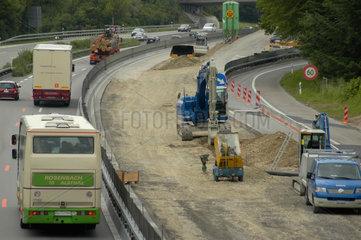 Baustelle auf Autobahn.