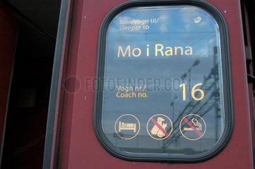 Wagenanzeiger Schlafzug von Trondheim nach Mo i Rana und Bodo (Norwegen)  Signete.
