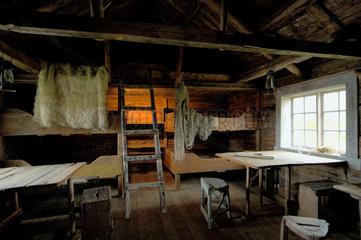 Urspruengliches Rorbu im Lofotmuseum in Torvagen bei Kabelvag.