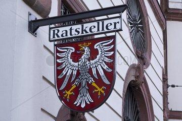 Hinweisschild Ratskeller  Frankfurt am Main  Hessen  Deutschland  Europa