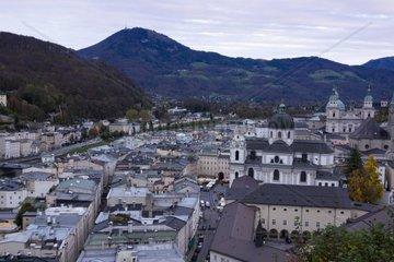 View of Salzburg in the evening light  Salzburg  UNESCO World Heritage Site  Salzburger Land  Austria  Europe