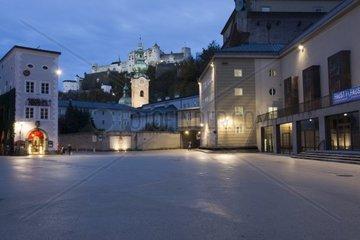 Fortress Hohensalzburg at night  in the front the Festival Theatre  Salzburg  UNESCO World Heritage Site  Salzburger Land  Austria  Europe