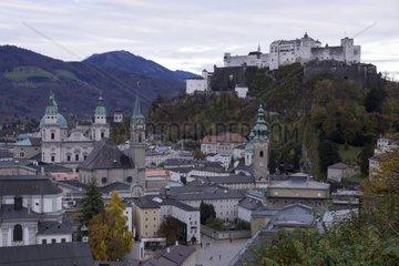View of Salzburg with the Fortress Hohensalzburg in the evening light  Salzburg  UNESCO World Heritage Site  Salzburger Land  Austria  Europe