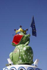 Frosch mit Europaeisches Flagge