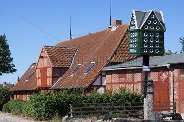 Museum Lemkenhafener Muehle mit Taubenpfahl  Insel Fehmarn  Ostsee  Kreis Ostholstein  Schleswig-Holstein  Deutschland  Europa