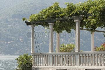 balcony with pergola of a villa in Lake Como