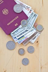 Deutscher Reisepass mit verschiedenen Waehrungen