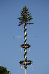 mit bunten Baendern und Kraenzen geschmueckter Maibaum