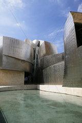 Guggenheimmuseum mit Edelstahlfassade in Bilbao  Hauptstadt der Provinz Bizkaia  Baskenland  Spanien  Europa