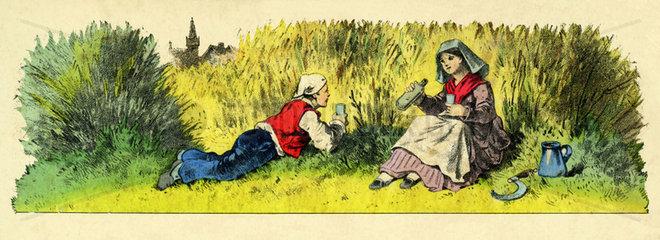 Mittagspause bei der Landarbeit  1865
