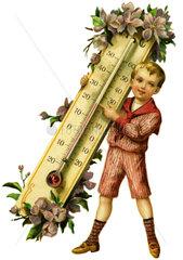 Junge traegt Thermometer  warmes Wetter  Fruehling  1914