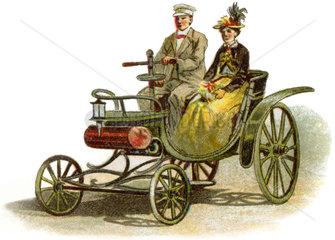 eines der ersten Autos  Autofahrer  1894