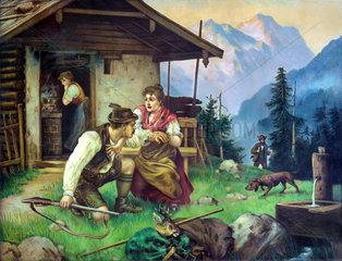 Szene aus dem Leben von Wilderer Jennerwein  um 1900