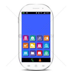 Weisses Smartphone mit blauem Display und Apps