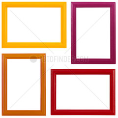 Four different coloured wooden picture frames on white background