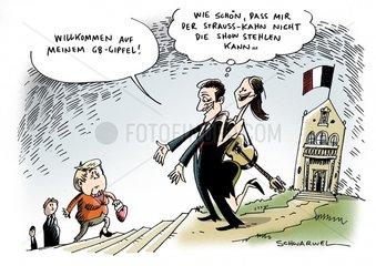 Sarkozy begruesst die Industrienationen zu seinem G8-Gipfel