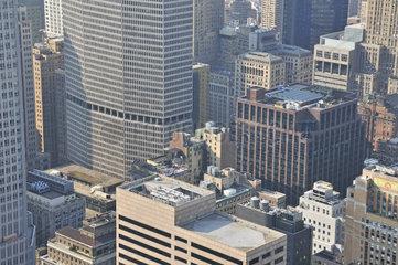 Panorama von der Aussichtsplattform Top of the Rock im Rockefeller Center nach downtown Manhattan  Manhattan  New York City  USA  Nordamerika  Amerika