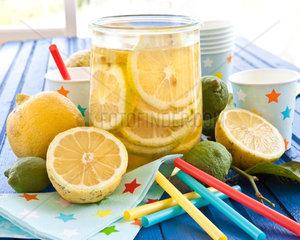 Hausgemachter Eistee mit Zitrone in vintage Einmachglas