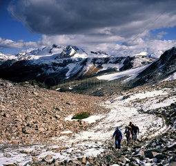 Hikers On Whistler Mountain  Whistler  British Columbia