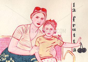 frutta  la fruttera  Mutter und Tochter
