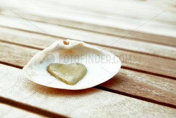 Herz; Liebe; Muschel; Fundstueck; Fundstuecke; Holz; Holzboden; Glueck; romantisch; Romantik; lieben; Liebeserklaerung; Verbundenheit; Verliebtheit; Partnerschaft; Freundschaft; Symbol; love; luck; lucky; heart; Verbindung; Zeichen
