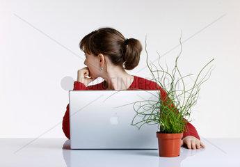 Portraet; junge Frau; junger Erwachsener; 1 Person; weiblich; hellhaeutig; Europaeisch; Europaeischer Abstammung; rot; gruen; Pflanze; Zimmerpflanze; Computer; Kreusel; gekreuselt; Laptop; Buero; Blumentopf; Nachdenken; Gedanken; Denken; nachdenklich; Wissen; B