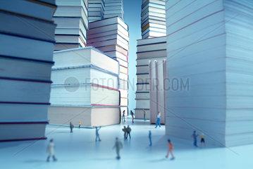 Literatur  Buecher  Buchmesse  Stapel  Druckerzeugnis