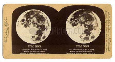 Vollmond  Ansicht des Mondes  Stereofoto  1880