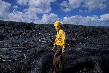 USA  Hawaii  Big Island  Volcano  National Park  Puna Coast  ranger on the lava