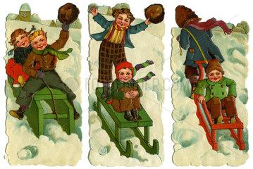 Kinder beim Schlittenfahren  1910