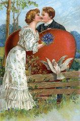 Liebespaar  erster Kuss  Illustration  1911