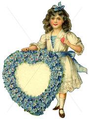 Maedchen schenkt Blumenherz mit Vergissmeinnicht  Liebessymbol  1913