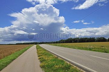 Radweg und Landstrasse  Cumulonimbus  Gewitterwolken  blauer Himmel  aufziehendes Gewitter  Schwaebische Alb  Baden-Wuerttemberg  Deutschland  Europa