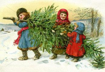 Kinder tragen Christbaum heim  1890