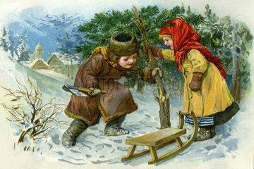 Kinder beim Christbaumschlagen  1890