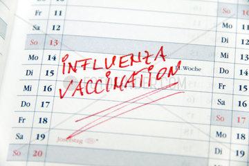 Notiz Grippe Impfen in englischer Sprache