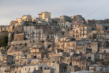 Italy   Sicily  Modica  old town cityscape at dusk