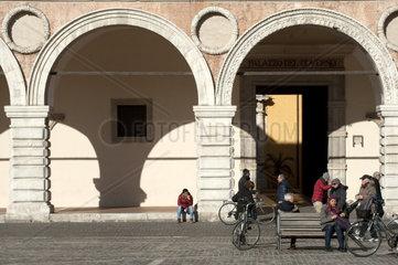 Italy  Marche  Pesaro  Piazza del Popolo  Palazzo Ducale  facade detail