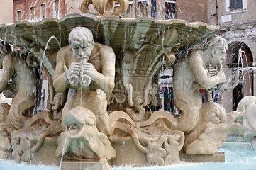 Italy  Marche  Pesaro  Piazza del Popolo  the fountain