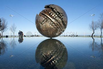 Italy  Marche  Pesaro  Piazzale della Libertà . The Big Globe. sculpture by A. Pomodoro