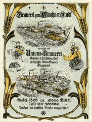 zwei Muenchner Brauereien fusionieren  Werbung  1912