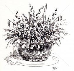 Fruehlingsblumen im Korb Tusche sw