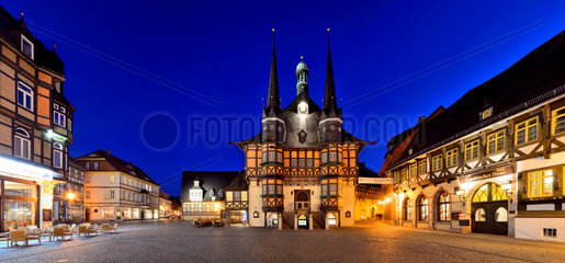 Sachsen-Anhalt  Wernigerode  town hall and market square nightview