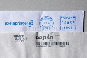 Poststempel bzw. Stempel Deutsche Post AG und von pin