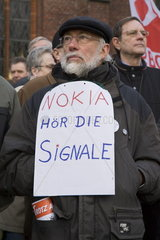 Solidaritaetskundgebung gegen die Schliessung des NOKIA Werks in Bochum