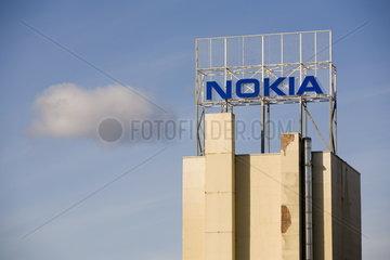 Logo des Handy-Herstellers NOKIA auf dem durch Schliessung bedrohten NOKIA Werk in Bochum