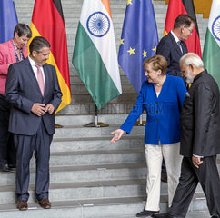 Gabriel + Modi + Merkel