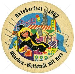 alter Bierdeckel  Muenchen - Weltstadt mit Herz  1962